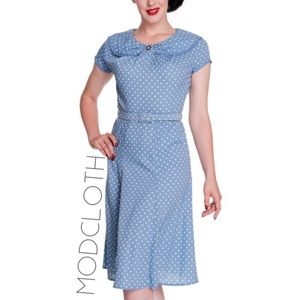 Modcloth Hell Bunny Vixen blue dot retro dress M